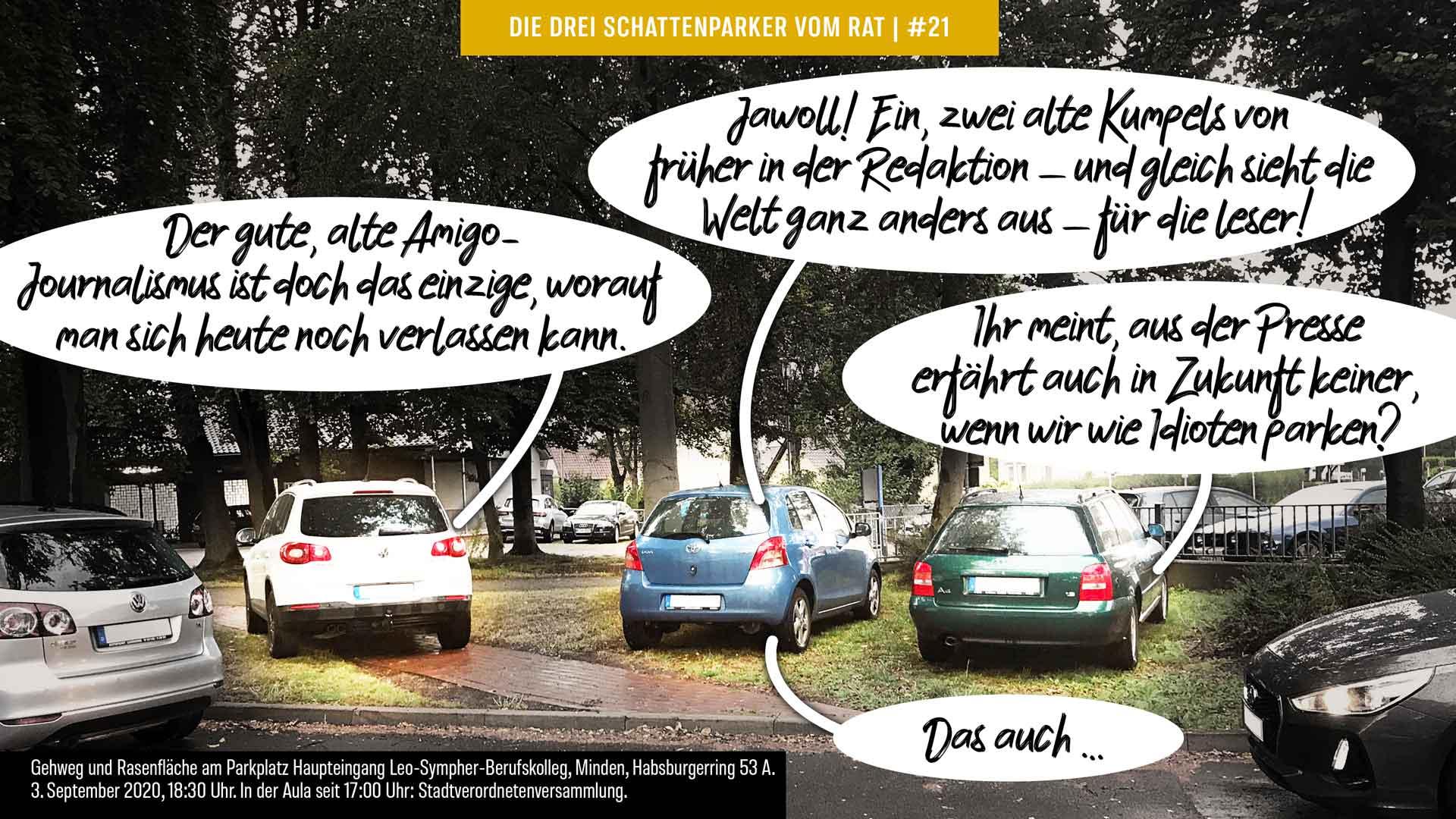 Foto-Comic Die drei Schattenparker zu alten Kumpels